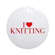 I love Knitting-Bau red 500 Ornament (Round)