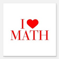"I love Math-Bau red 500 Square Car Magnet 3"" x 3"""