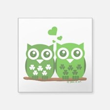 "Green Owls Square Sticker 3"" x 3"""
