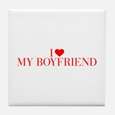 I love My Boyfriend-Bau red 500 Tile Coaster