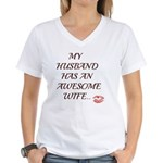 AWESOME WIFE Women's V-Neck T-Shirt