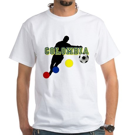 Colombia Futbol Player White T-Shirt