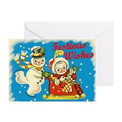 Vintage-Style Snowmen Festivus Cards (Pk of 10)