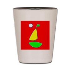 Red Sailing under the Moon Sailboat Cra Shot Glass