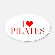 I love Pilates-Bau red 500 Oval Car Magnet