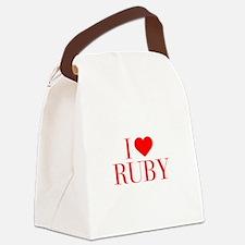 I love RUBY-Bau red 500 Canvas Lunch Bag