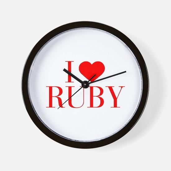 I love RUBY-Bau red 500 Wall Clock
