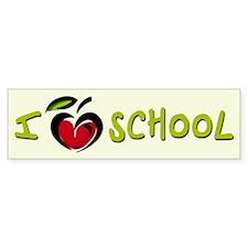 I Love School - Bumper Car Sticker