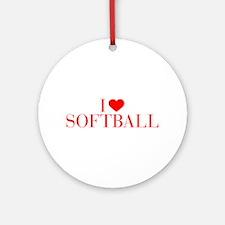 I love Softball-Bau red 500 Ornament (Round)