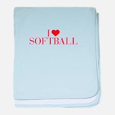 I love Softball-Bau red 500 baby blanket