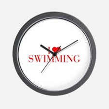 I love Swimming-Bau red 500 Wall Clock
