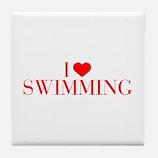 I love Swimming-Bau red 500 Tile Coaster