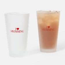 I love Swimming-Bau red 500 Drinking Glass