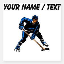 "Custom Hockey Player Square Car Magnet 3"" x 3"""