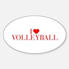 I love Volleyball-Bau red 500 Decal