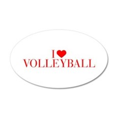 I love Volleyball-Bau red 500 Wall Decal