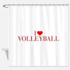 I love Volleyball-Bau red 500 Shower Curtain