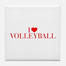 I love Volleyball-Bau red 500 Tile Coaster