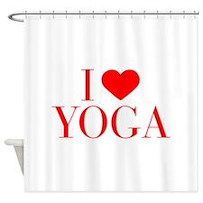I love Yoga-Bau red 500 Shower Curtain