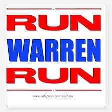 "Run Warren Run RBW Square Car Magnet 3"" x 3"""