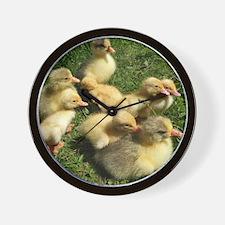 Three little goslings wildlife in the m Wall Clock