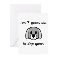 1 dog years 2 - 2 Greeting Cards