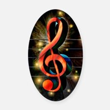 Music Motif-Treble Clef Oval Car Magnet