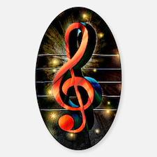 Music Motif-Treble Clef Sticker (Oval)