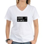 'Cancer: 0 My Uncle: 1' Women's V-Neck T-Shirt