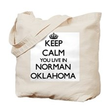 Keep calm you live in Norman Oklahoma Tote Bag