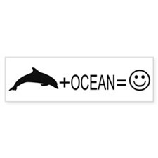 Dolphin+Ocean=Happy Bumper Bumper Sticker