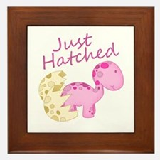 Just Hatched Pink Baby Dinosaur Framed Tile