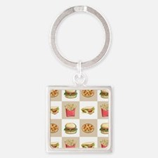 Food Tiles Square Keychain
