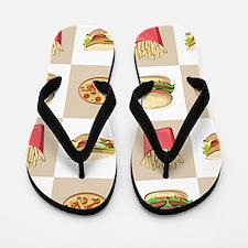 Food Tiles Flip Flops
