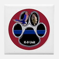 German Shepherd K-9 Unit Thin Blue Li Tile Coaster