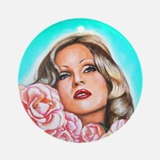 Candy Darling with Roses Round Ornament