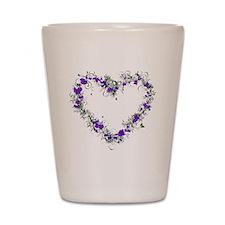 Purple Flower Heart Shot Glass