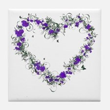 Purple Flower Heart Tile Coaster