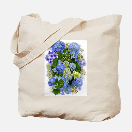 Blue Hydrangeas and Gold Hearts Tote Bag