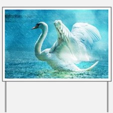 Swan Flapping Wings on Water Yard Sign