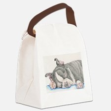 Boston Terrier Puppy Dog Canvas Lunch Bag