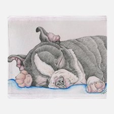 Boston Terrier Puppy Dog Throw Blanket