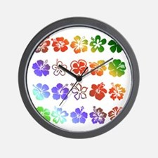 Hibiscus Rainbow Wall Clock