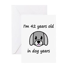 6 dog years 2 - 2 Greeting Cards