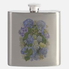 Blue Hydrangeas and Gold Hearts Flask