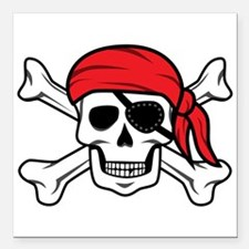 """Jolly Roger Pirate Square Car Magnet 3"""" x 3"""""""