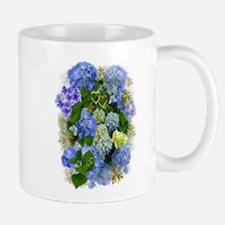Blue Hydrangeas and Gold Hearts Mugs