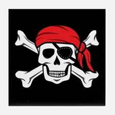 Jolly Roger Pirate (on Black) Tile Coaster