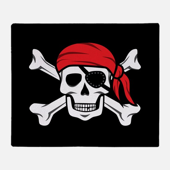 Jolly Roger Pirate (on Black) Throw Blanket