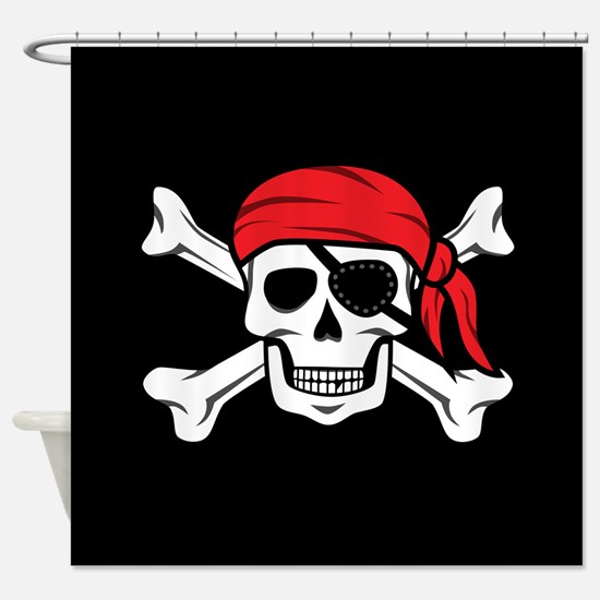 Jolly Roger Pirate (on Black) Shower Curtain